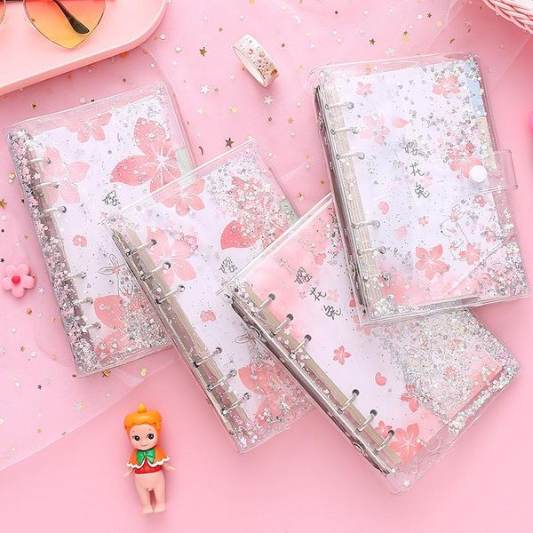 Sakura loose-leaf hand book quicksand fantasy hand book set checkered student cute day notepad NHZE191769
