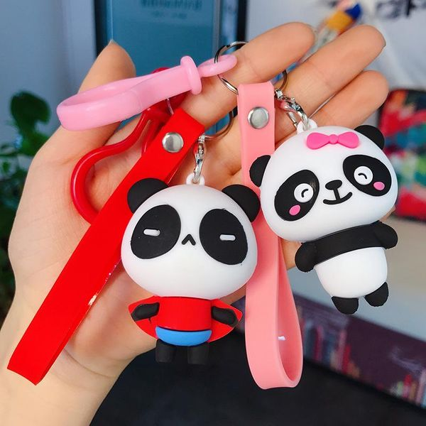 New cute panda car key chain cartoon key chain simple net red creative couple bag pendant wholesale NHBM191799
