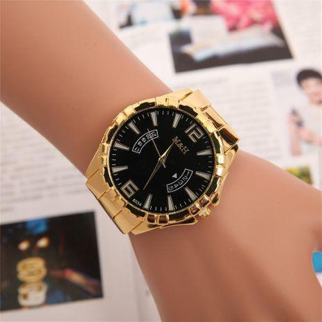 Reloj de cuarzo con banda de acero de calendario falso para hombre de gran venta NHHK191844's discount tags