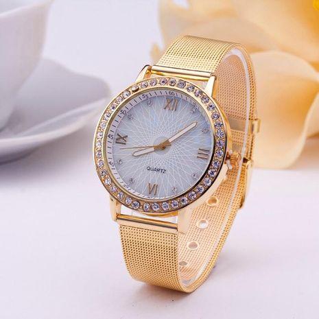 Reloj dorado con correa de acero y rejilla de diamantes NHSY191869's discount tags
