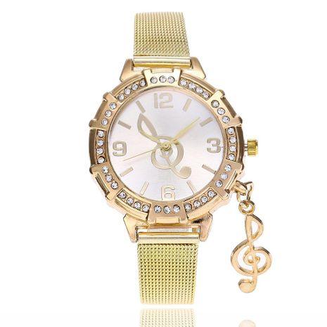 Símbolo de la música colgante de diamantes de malla de oro reloj de pulsera de cuarzo al por mayor NHSY191873's discount tags