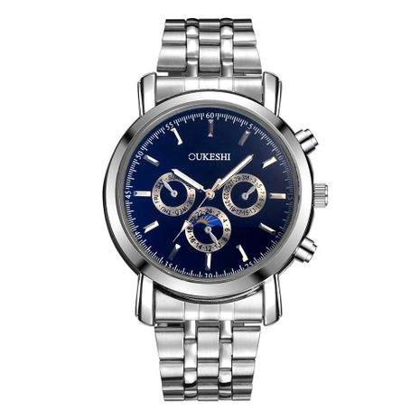 Nuevo reloj de pulsera de acero de cuarzo con tres ojos de cristal azul claro NHSY191878's discount tags