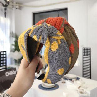 Cute Contrast Cross Yarn Knitting Polka Dots Knots Knots Extra Wide Edge Hair Band Headband NHSM191942's discount tags