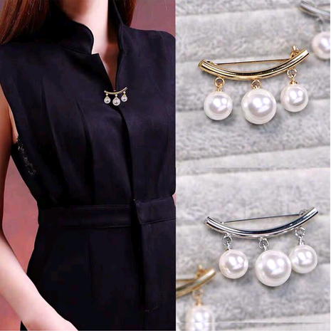 Delicate Korean fashion sweet OL elegant pearl pin brooch collar clip brooch NHSC191976's discount tags