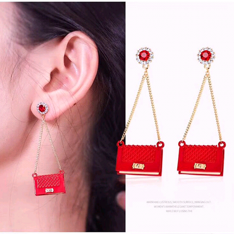 925 silver pin Korean fashion exquisite OL small sachet personalized earrings NHSC191975's discount tags