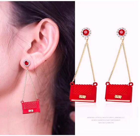 925 silver pin Korean fashion exquisite OL small sachet personalized earrings NHSC191975