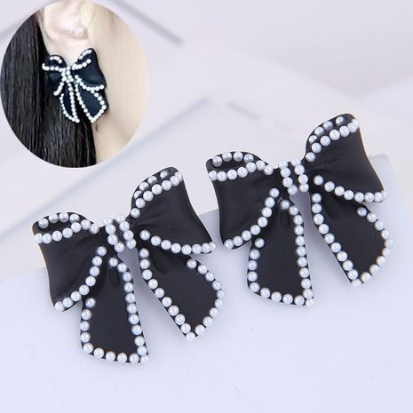 Delicate Korean fashion exquisite OL big bow temperament earrings NHSC191972's discount tags