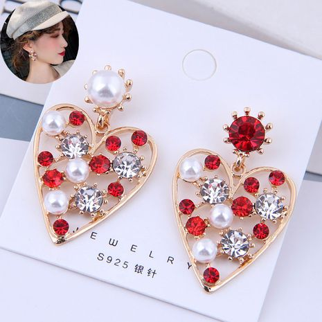 Delicate Korean fashion exquisite OL flash diamond love temperament earrings NHSC191971's discount tags