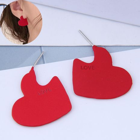 Delicate Korean fashion exquisite OL red love personality earrings NHSC191965's discount tags