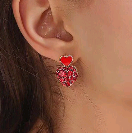 Exquisite Korean fashion exquisite OL flash diamond love personality earrings NHSC191964