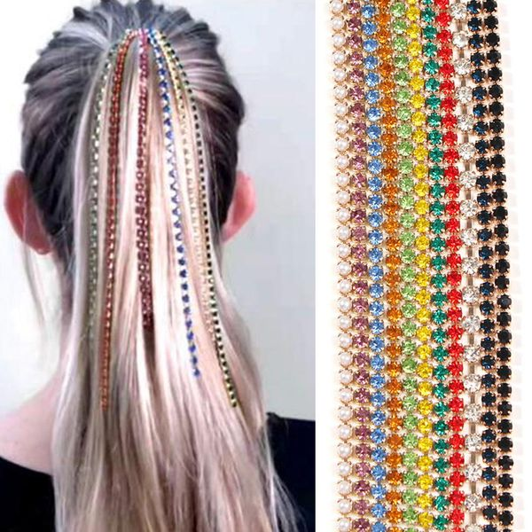 Fashion New Hair Accessories Tassel Comb Plug Fancy Color Diamond Punk Head Clip NHMD191960