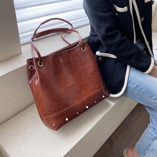 New simple large capacity tote bag women fashion crocodile pattern handbag soft leather shoulder bag NHPB191993