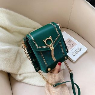 New Fashion Fringe Crossbody Bag Rivet Frosted Chain Shoulder Small Square Bag NHPB191995