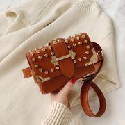 New Fashion Rivet Studded Chest Bag Women Winter Wide Shoulder Buckle Mini Shoulder Crossbody Bag NHPB192013