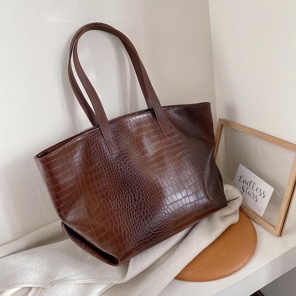 New retro large capacity crocodile pattern shoulder bag solid color portable tote bag for women NHPB192031