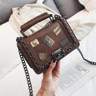 Bags Women's Chain Shoulder Bag New Korean Small Square Bag Retro Badge Handbag NHPB192045