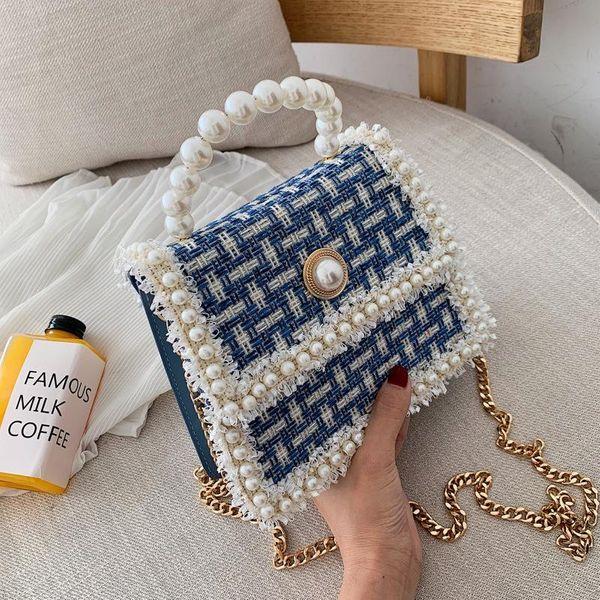 Bag women's new Korean fashion pearl hundred chain shoulder shoulder small square bag NHPB192164