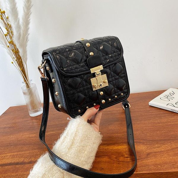 New Lingge Fashion Messenger Small Square Bag Women Simple Lock Shoulder Bag NHPB192183