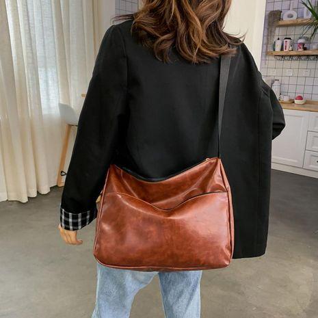 Fashion new bag women's single shoulder diagonal messenger bag Korean oil leather zipper handbag NHXC192210's discount tags