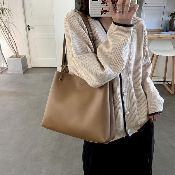 Retro large-capacity women's bag new Korean version of the shoulder soft leather portable bucket bag NHXC192231