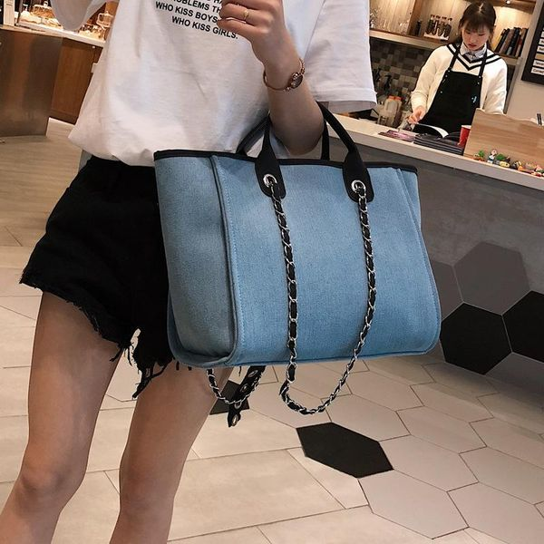 Women's bag casual denim portable chain bag simple fashion shoulder bag wild women's bag NHXC192239