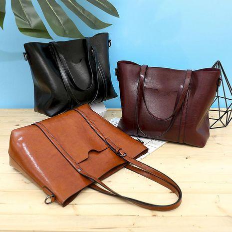Korean new tote bag shoulder messenger bag PU retro handbag oil wax women bag NHXC192264's discount tags