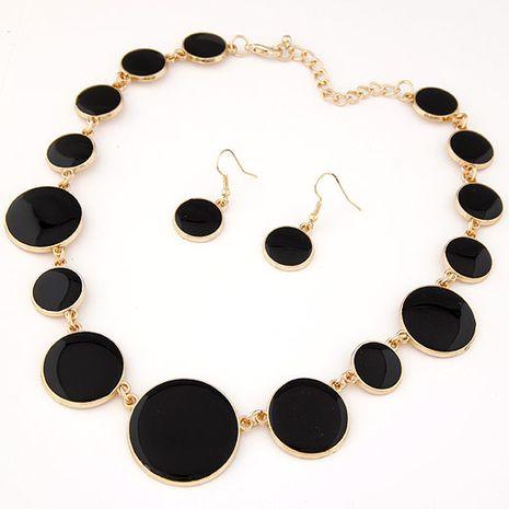 Ensemble de boucles d'oreilles collier exagéré sauvage tempérament de disque de taille simple NHSC192403's discount tags