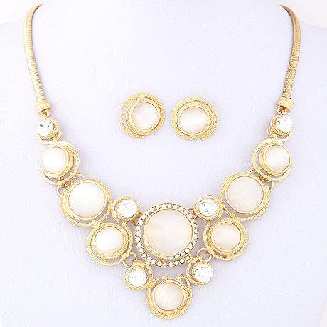 Metallic Gemstone Opal Temperament Set Earring Necklace NHSC192402