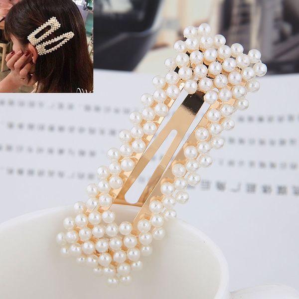 Pearl square hair clip side clip wild simple hair clip word clip NHSC192395