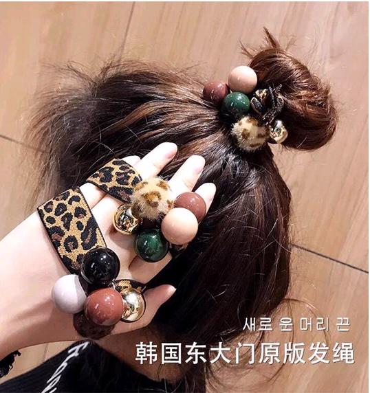Hair rope leopard hair ring adult headdress bracelet dualuse simple tie hair pearl head rope rubber band female Korean NHSC192393
