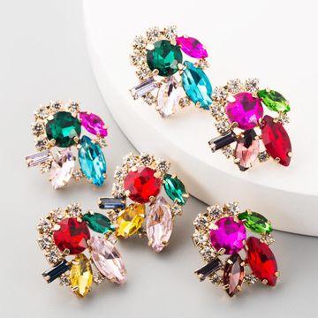 Aretes de diamantes con incrustaciones de aleación tendencia femenina pendientes de diamantes completos de flores retro NHLN192302