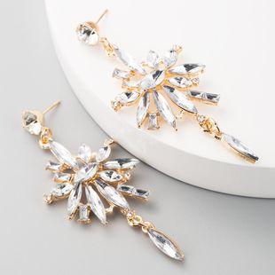 Multi-layer acrylic alloy diamond flower long tassel earrings earrings for women NHLN192303's discount tags