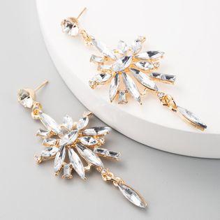 Aretes largos de borla con flor de diamante de aleación acrílica de múltiples capas pendientes para mujer NHLN192303