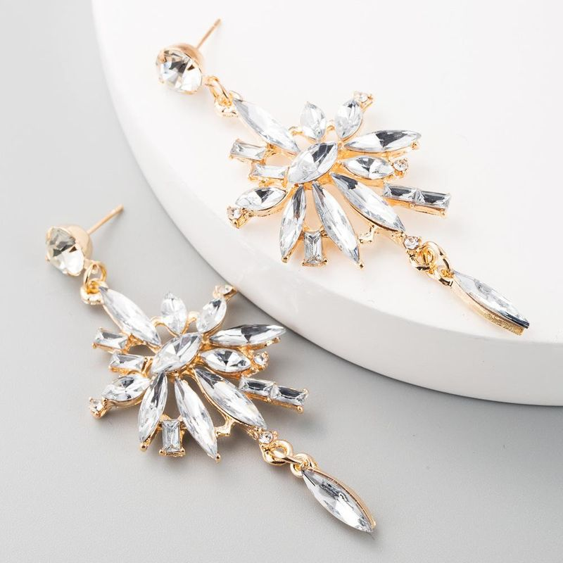 Multilayer acrylic alloy diamond flower long tassel earrings earrings for women NHLN192303