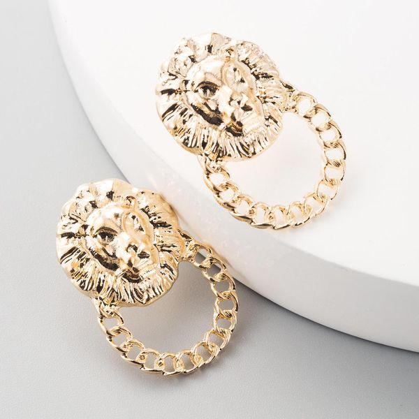 Hot ladies earrings creative domineering lion head hollow earrings NHLN192305