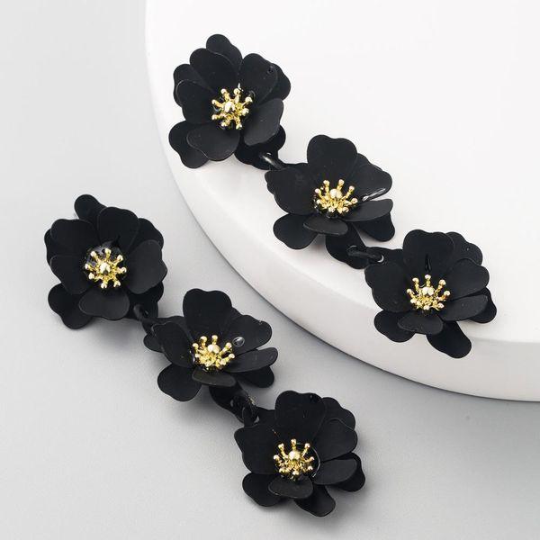 Aretes para mujer de moda flores pendientes largos de temperamento boho de moda NHLN192307