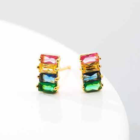 Rainbow Earrings Brass and Color Zirconia Geometric Earrings NHLN192308's discount tags