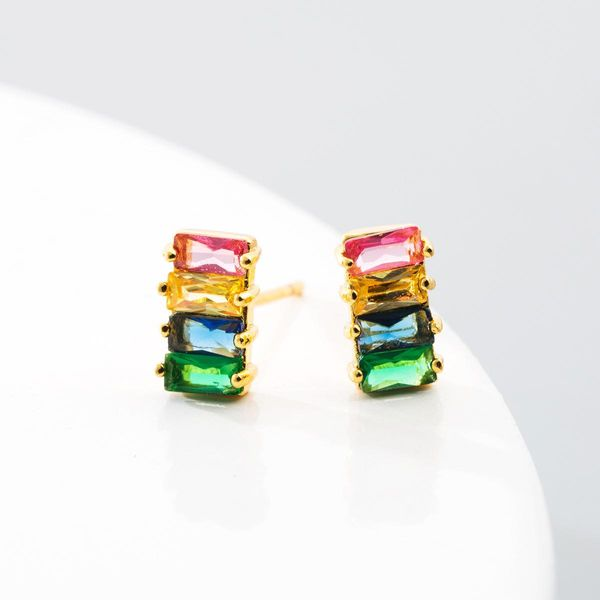 Rainbow Earrings Brass and Color Zirconia Geometric Earrings NHLN192308