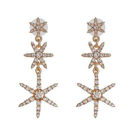 Fashion golden five-pointed star diamond earrings long star earrings female NHJJ192309's discount tags