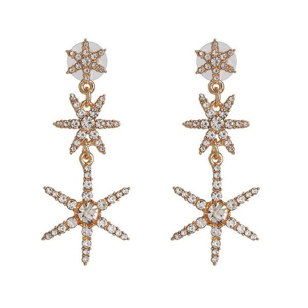 Fashion golden five-pointed star diamond earrings long star earrings female NHJJ192309
