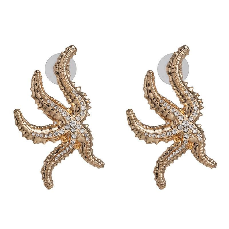 Alloy starfish diamond earrings personality street shooting golden animal earrings NHJJ192310