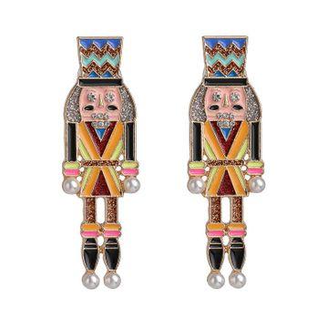 Nutcracker earrings dripping oil cartoon character diamond earrings NHJJ192311