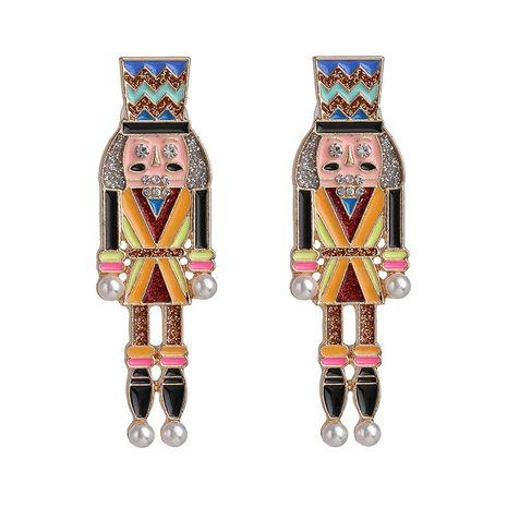 Nutcracker earrings dripping oil cartoon character diamond earrings NHJJ192311's discount tags