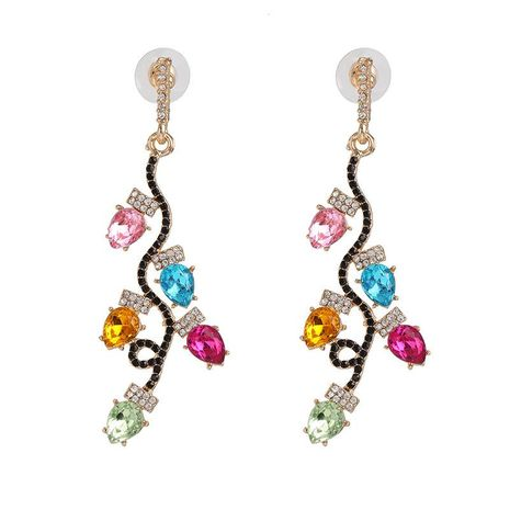 Fashion color diamond earrings gold-plated leaf personality earrings women wholesale NHJJ192313's discount tags