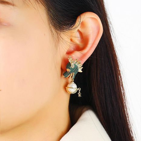 Golden Geometric Dragon Head Earrings  Exaggerated Ruili Large Pearl Earrings Wholesale NHKQ192321's discount tags