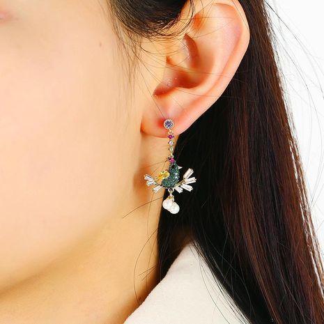 Simple creative long earrings retro tree branch bird pearl pendant earrings women NHKQ192323's discount tags