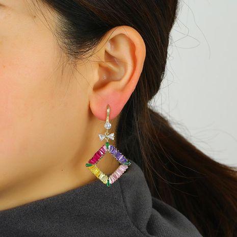 Simple diamond earrings wild crystal color geometric earrings wholesale NHKQ192348's discount tags