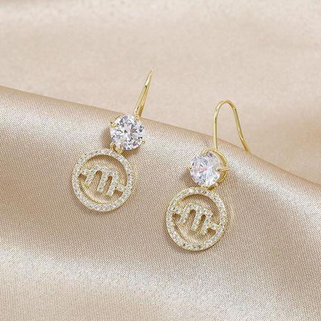Alphabet Ear Hook Clear Zircon Ear Studs Jurchen Gold Pendant Earrings Jewelry Wholesale NHKQ192350's discount tags
