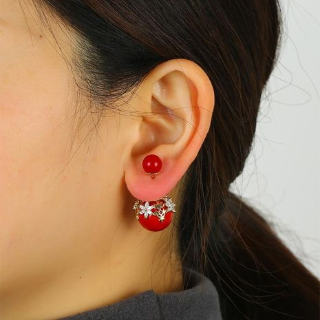Red festive earrings high-grade copper earrings color and quality earrings wholesale NHKQ192352's discount tags