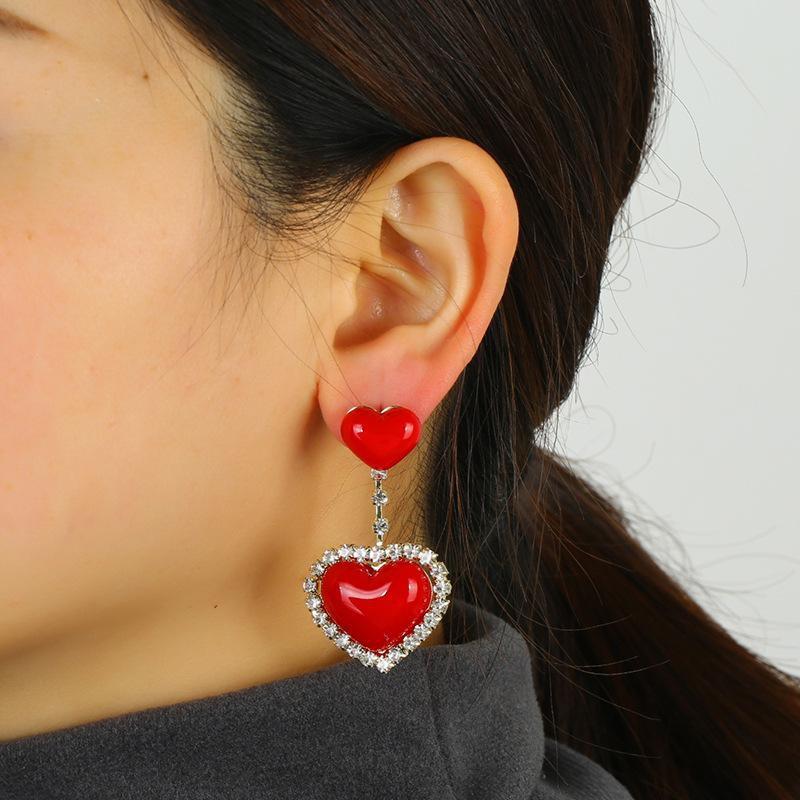New year red earrings love pendant earrings S925 silver zircon copper earrings wholesale NHKQ192353